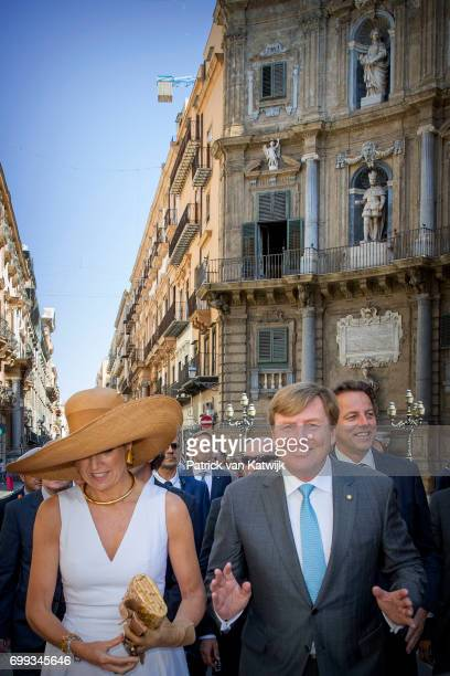 King WillemAlexander of The Netherlands and Queen Maxima of The Netherlands visit mayor Leoluca Orlando at Quatto Canti during the first day of a...