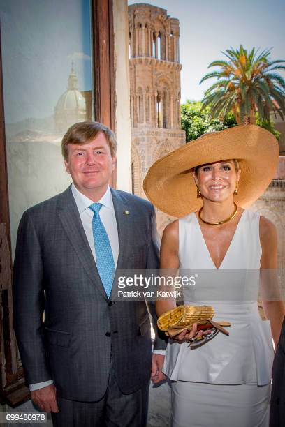 King WillemAlexander of The Netherlands and Queen Maxima of The Netherlands visit mayor Leoluca Orlando at Quatto Canti during the second day of a...