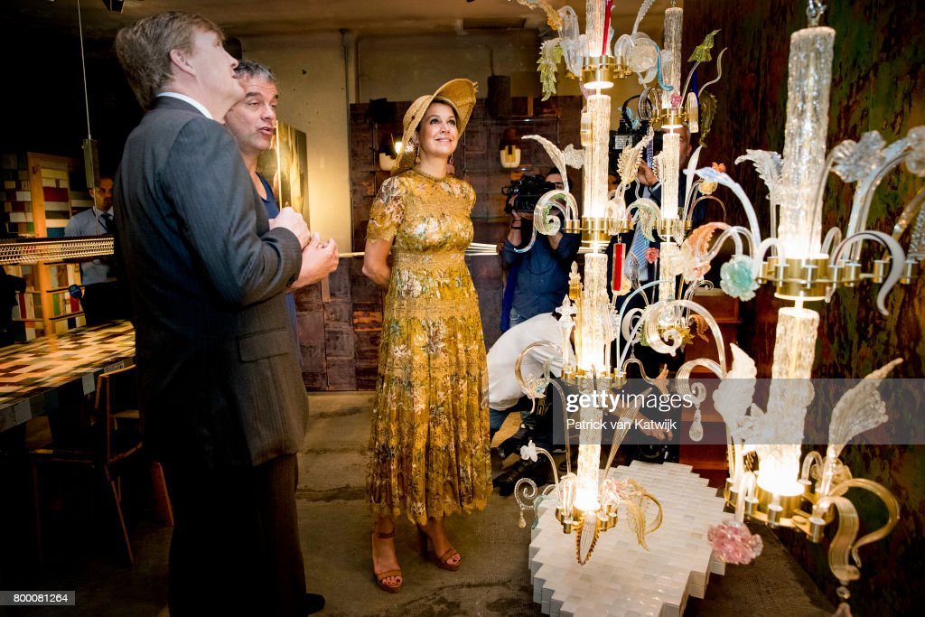 King Willem-Alexander of The Netherlands and Queen Maxima of The Netherlands visit Galleria Rossanna Orlandi during the fourth day of a royal state visit to Italy on June 23, 2017 in Milan, Italy.