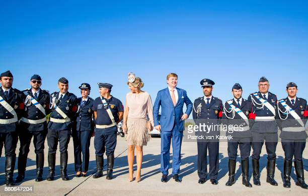 King WillemAlexander of The Netherlands and Queen Maxima of The Netherlands depart from Military airport Figo Madura on October 12 2017 in LISBON...