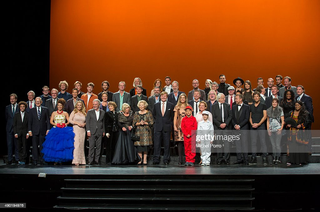 King Willem-Alexander of The Netherlands and Queen Maxima of The Netherlands pose in a group photo with all performing artists during festivities marking the final celebrations of 200 years Kingdom of The Netherlands on September 26, 2015 in Amsterdam, Netherlands