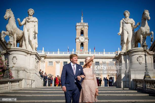 King WillemAlexander of The Netherlands and Queen Maxima of The Netherlands pose in the front of the Campidoglio after their visit to the mayor...