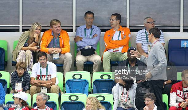 King WillemAlexander of the Netherlands and Queen Maxima of the Netherlands talk to Alexander Popov on day 8 of the Rio 2016 Olympic Games at Olympic...