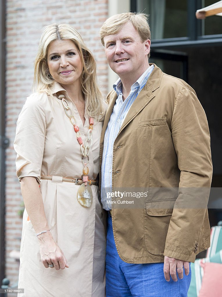 King Willem-Alexander of the Netherlands and Queen Maxima of the Netherlands attend the annual Summer photocall at Horsten Estate on July 19, 2013 in Wassenaar, Netherlands.