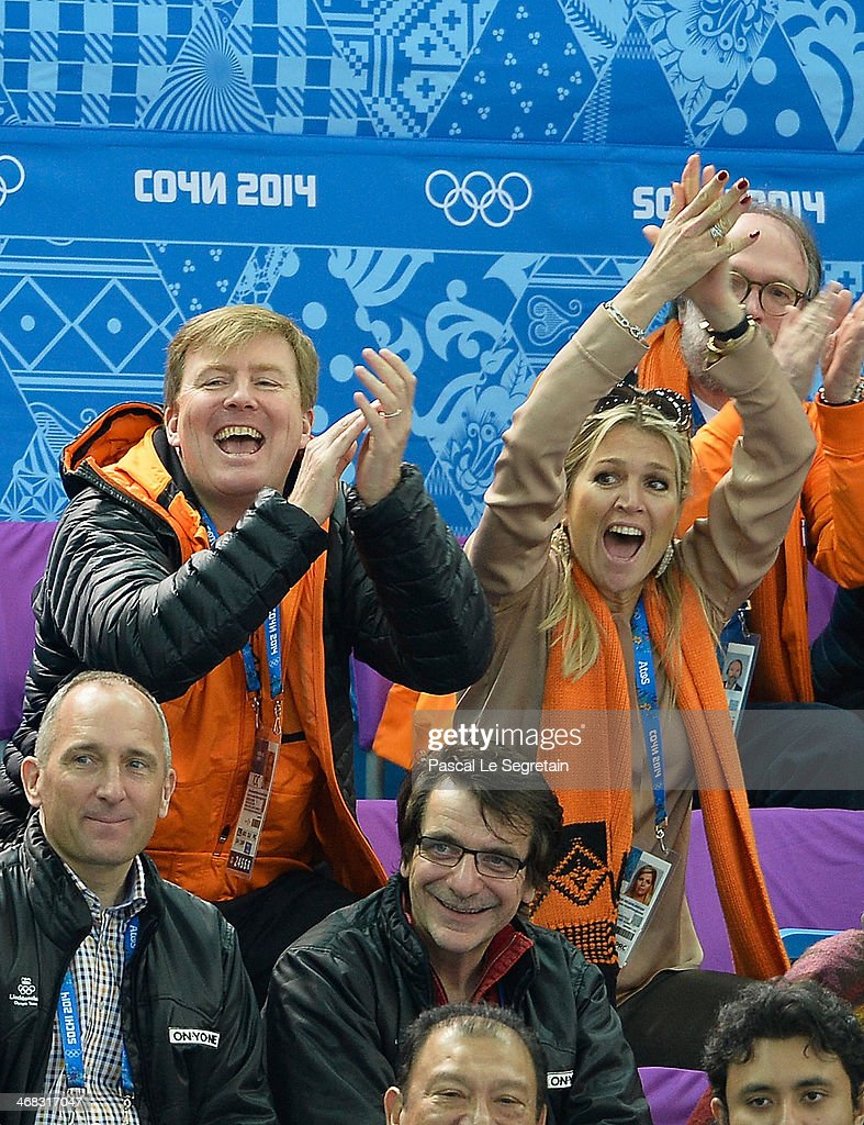 <a gi-track='captionPersonalityLinkClicked' href=/galleries/search?phrase=King+Willem-Alexander&family=editorial&specificpeople=160214 ng-click='$event.stopPropagation()'>King Willem-Alexander</a> of the Netherlands and Queen Maxima of the Netherlands attend the Short Track on day 3 of the Sochi 2014 Winter Olympics at Iceberg Skating Palace on February 10, 2014 in Sochi, Russia.