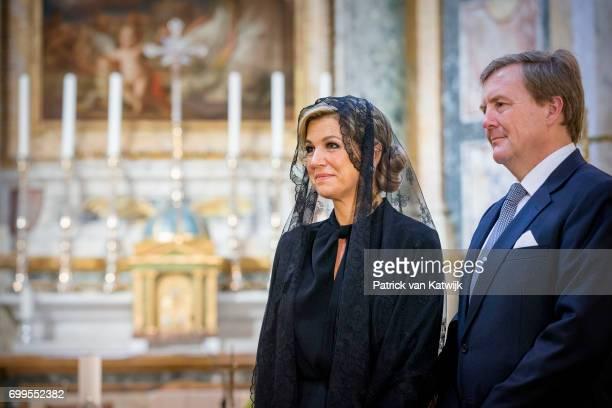 King WillemAlexander of The Netherlands and Queen Maxima of The Netherlands visit the Dutch Friezenkerk at Vatican city on June 22 2017 in Vatican...