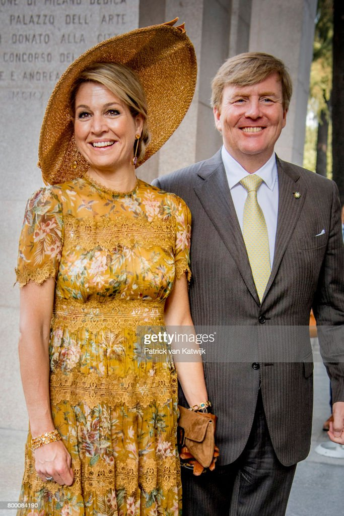 King Willem-Alexander of The Netherlands (R) and Queen Maxima of The Netherlands visit the Design Museum Triennale where they learnt about cultural heritage, water and and fashion during the fourth day of a royal state visit to Italy on June 23, 2017 in Milan, Italy.
