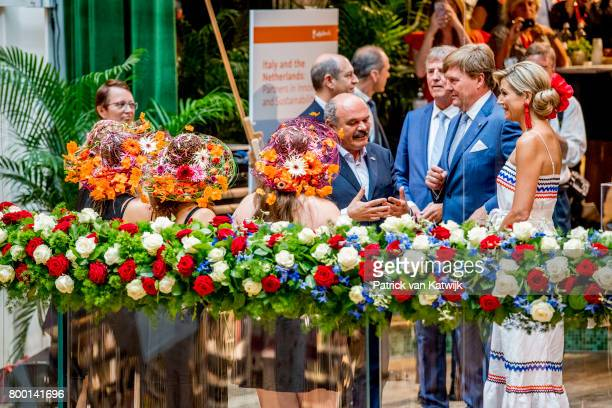 King WillemAlexander of The Netherlands and Queen Maxima of The Netherlands visit the concept store EATALY during the third day of a royal state...