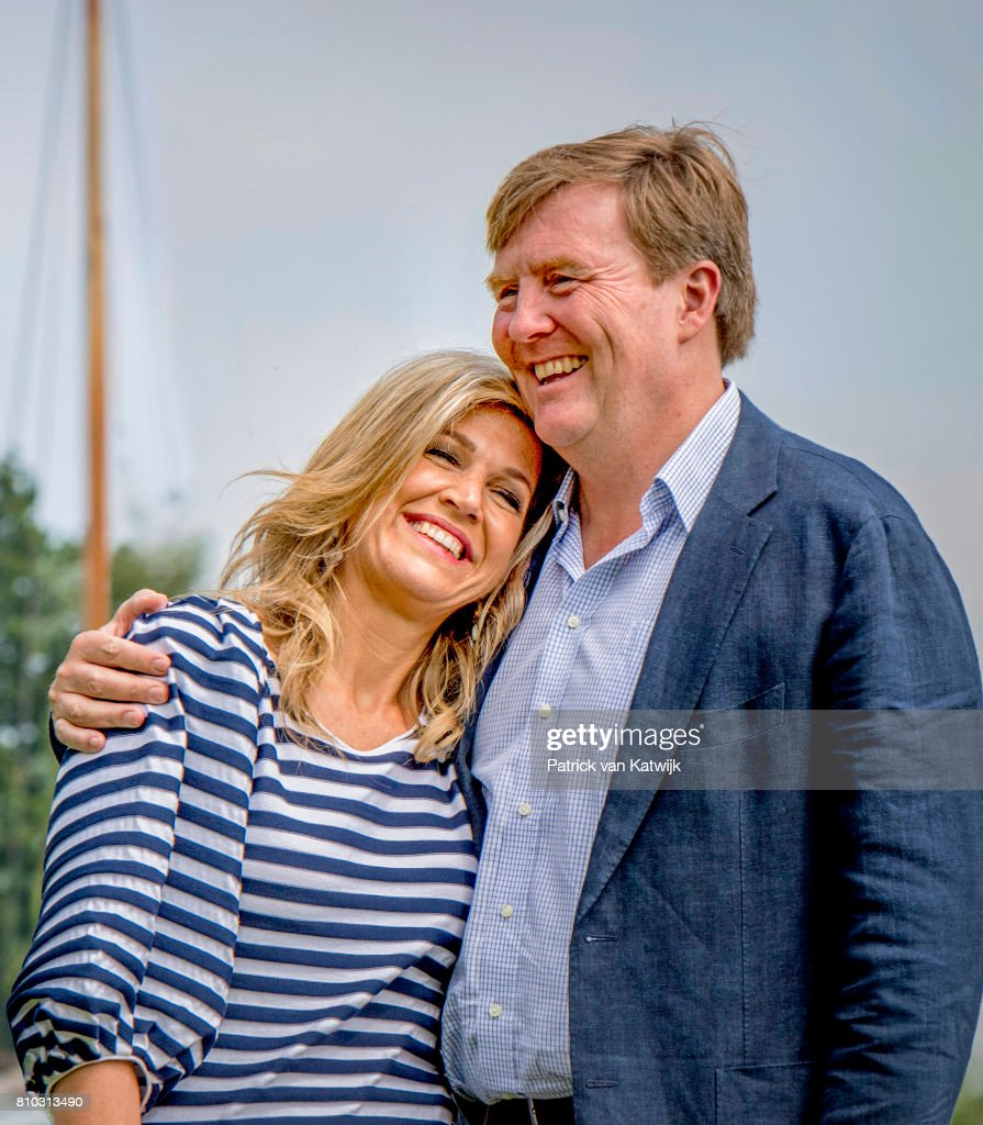 King Willem-Alexander of The Netherlands and Queen Maxima of The Netherlands during the annual summer photo call at the Kagerplassen on July 7, 2017 in Warmond, Netherlands.
