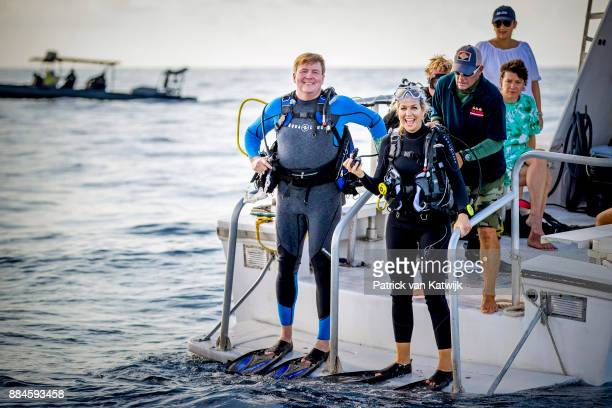 King WillemAlexander of The Netherlands and Queen Maxima of The Netherlands during the diving experience on December 01 2017 in The Bottom Saba