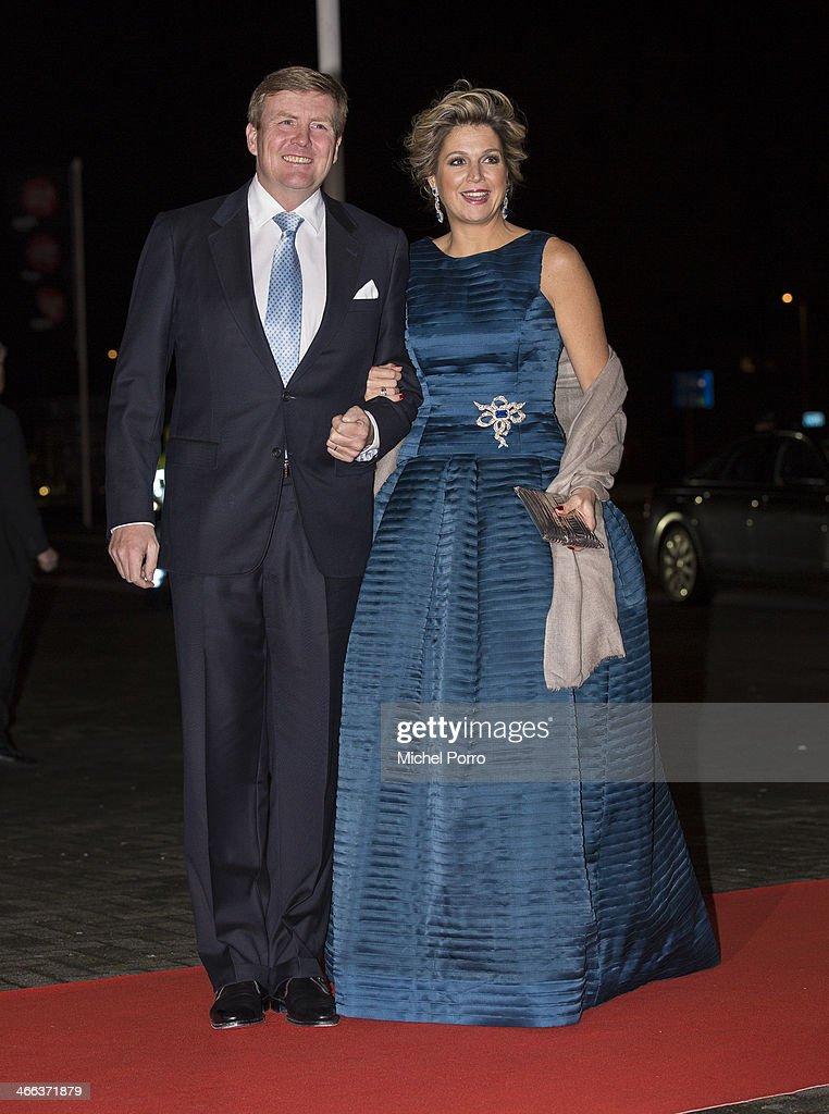 King Willem-Alexander of The Netherlands and Queen Maxima of The Netherlands arrive to attend a celebration of the reign of Princess Beatrix on February 1, 2014 in Rotterdam, Netherlands.