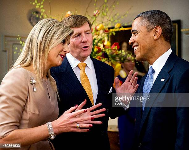 King WillemAlexander of The Netherlands and Queen Maxima of The Netherlands greet US President Barack Obama at the Royal Palace Huis ten Bosch on...