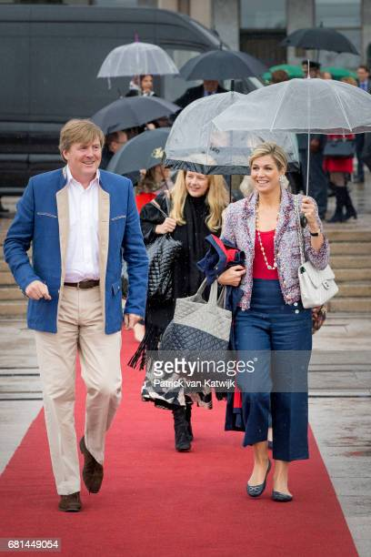 King WillemAlexander of the Netherlands and Queen Maxima of the Netherlands walk ahead of Princess Mabel of OrangeNassau attend a lunch on the...