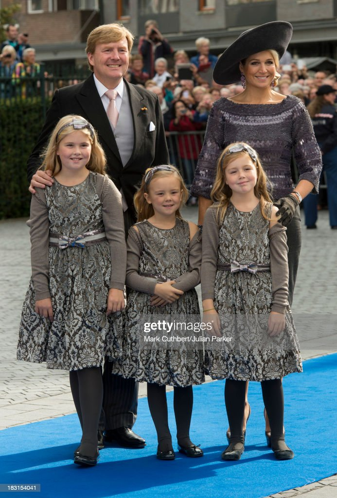King Willem-Alexander of the Netherlands and Queen Maxima of the Netherlands with Crown Princess Catharina-Amalia of the Netherlands, Princess Alexia of the Netherlands and Princess Ariane of the Netherlands attending the Wedding Of HRH Prince Jaime de Bourbon Parme and Viktoria Cservenyak at The Church Of Our Lady At Ascension on October 5 2013 in Apeldoorn, Netherlands.