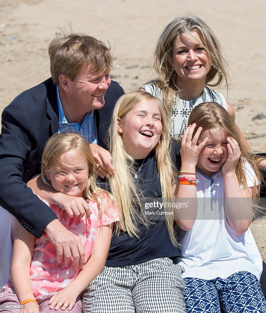 King Willem-Alexander of the Netherlands and Queen Maxima of the Netherlands with Crown Princess Catharina-Amalia of the Netherlands, Princess Alexia of the Netherlands and Princess Ariane of the Netherlands attend the annual summer photocall on July 10, 2015 in Wassenaar, Netherlands.