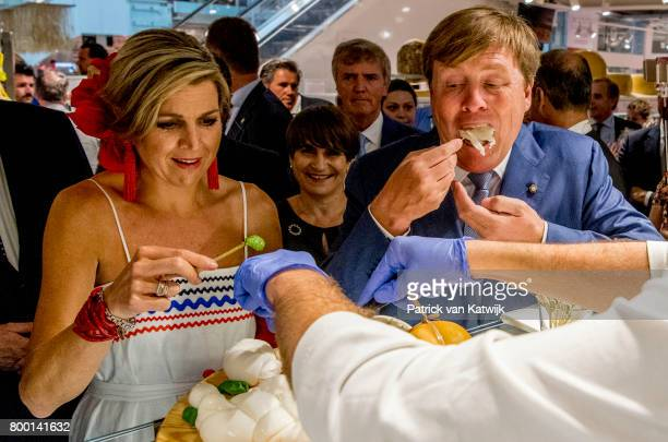 King WillemAlexander of The Netherlands and Queen Maxima visits food market Eatyaly on June 22 2017 in Milan Italy