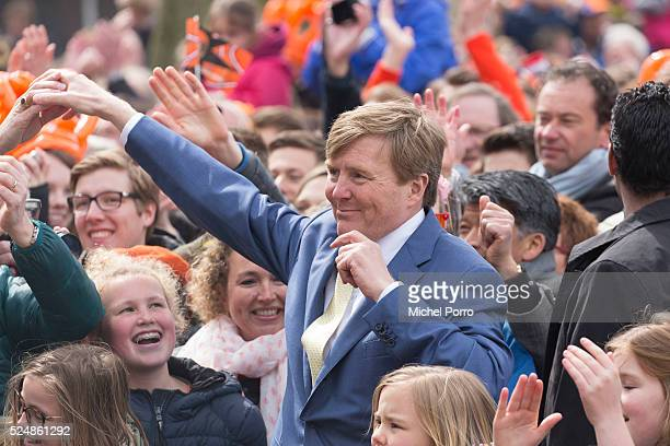 King WillemAlexander of The Netherlands attends celebrations marking his 49th birthday on King's Day on April 27 2016 in Zwolle Netherlands