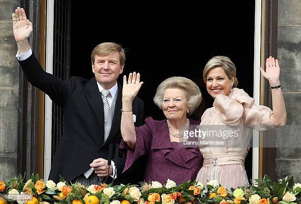 King WillemAlexander of the Netherlands HRH Princess Beatrix Of The Netherlands and HM Queen Maxima of the Netherlands appear on the balcony of The...