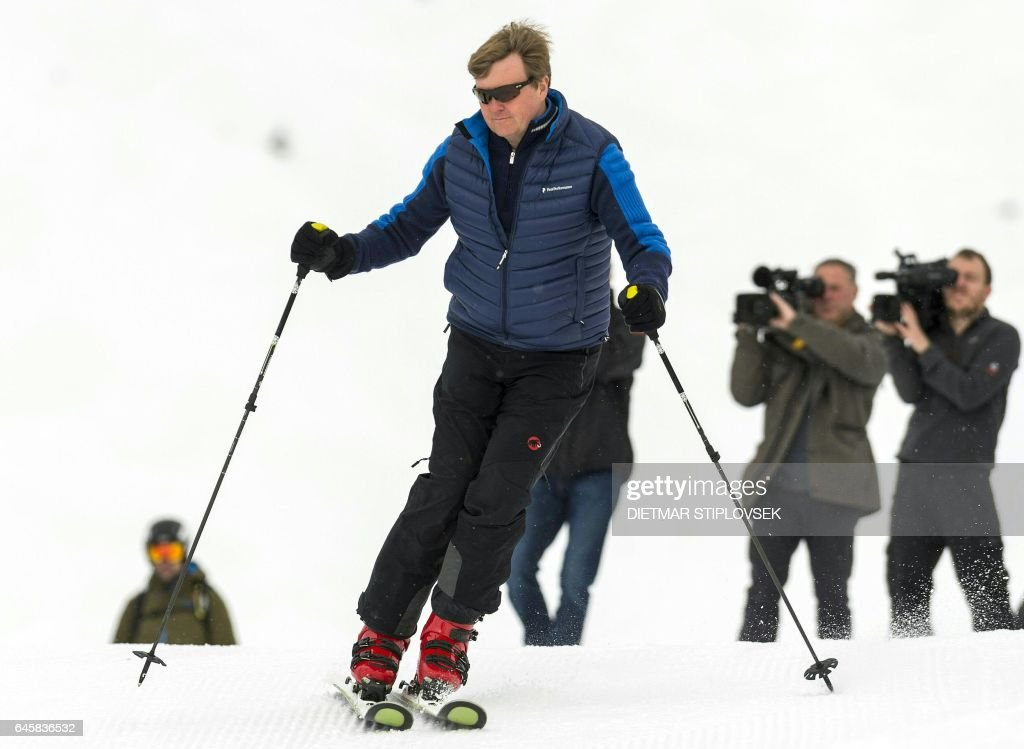 King Willem-Alexander of the Netherlands is pictured during a photo shooting of the Dutch royal family on February 27, in Lech, Austria. / AFP / APA / DIETMAR STIPLOVSEK / Austria OUT