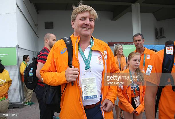 King WillemAlexander of the Netherlands leaves the arena after celebrating the gold medal of Sanne Wevers of the Netherlands at the Women's Balance...