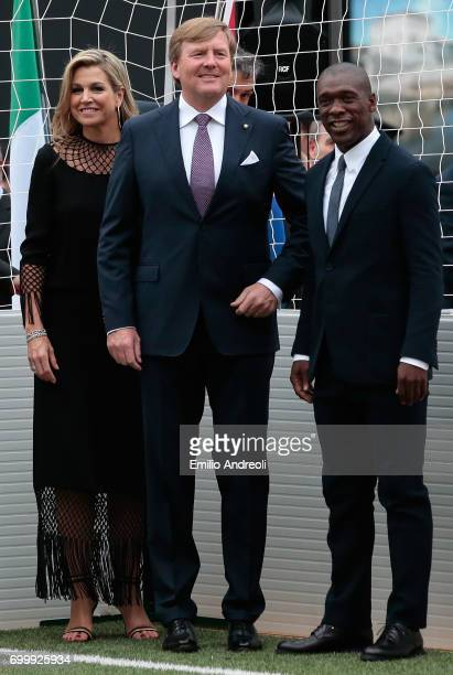 King WillemAlexander of the Netherlands Queen Maxima of the Netherlands and Clarence Seedorf attend a football clinic for integration organized by...