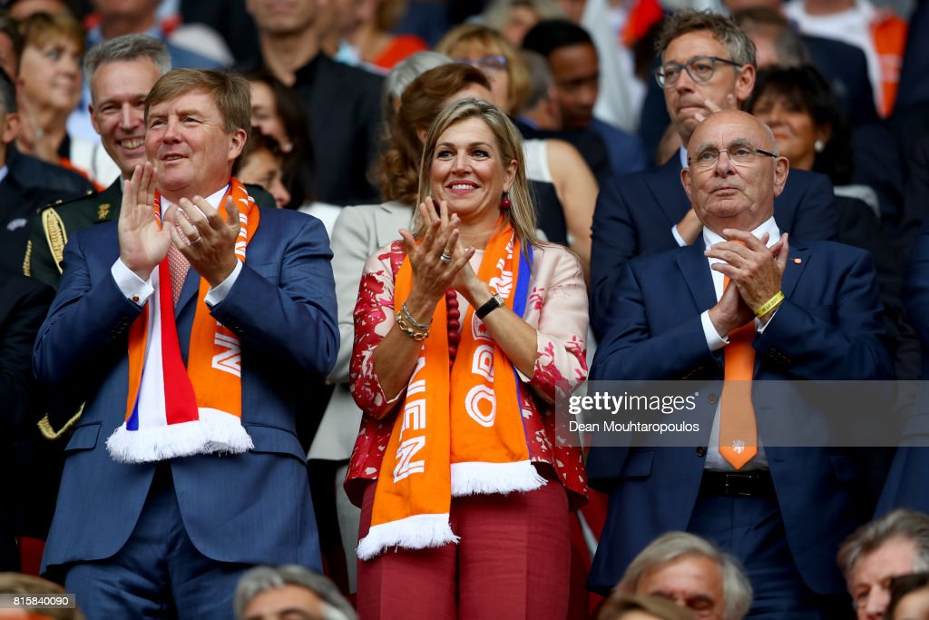 King Willem-Alexander of the Netherlands, Queen Maxima of the Netherlands and President of the Royal Dutch Football Association Michael van Praag watch on during the Group A match between Netherlands and Norway during the UEFA Women's Euro 2017 at Stadion Galgenwaard on July 16, 2017 in Utrecht, Netherlands.