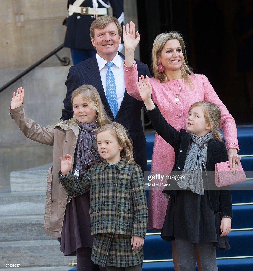 King Willem-Alexander of the Netherlands, Queen Maxima of the Netherlands and their daughters (L-R) Princess Catharina-Amalia of the Netherlands, Princess Ariane of the Netherlands and Princess Alexia of the Netherlands leave the Royal Palace after having brunch with other guests on May 1, 2013 in Amsterdam Netherlands.