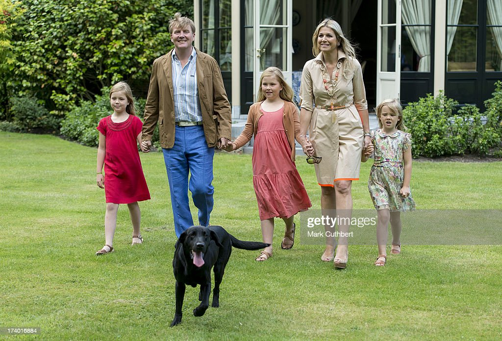 <a gi-track='captionPersonalityLinkClicked' href=/galleries/search?phrase=King+Willem-Alexander&family=editorial&specificpeople=160214 ng-click='$event.stopPropagation()'>King Willem-Alexander</a> of the Netherlands, Queen Maxima of the Netherlands, Crown Princess Catharina-Amalia of the Netherlands, <a gi-track='captionPersonalityLinkClicked' href=/galleries/search?phrase=Princess+Alexia+of+the+Netherlands&family=editorial&specificpeople=766259 ng-click='$event.stopPropagation()'>Princess Alexia of the Netherlands</a>, <a gi-track='captionPersonalityLinkClicked' href=/galleries/search?phrase=Princess+Ariane+of+the+Netherlands&family=editorial&specificpeople=4586156 ng-click='$event.stopPropagation()'>Princess Ariane of the Netherlands</a> and Skipper the dog attend the annual Summer photocall at Horsten Estate on July 19, 2013 in Wassenaar, Netherlands.