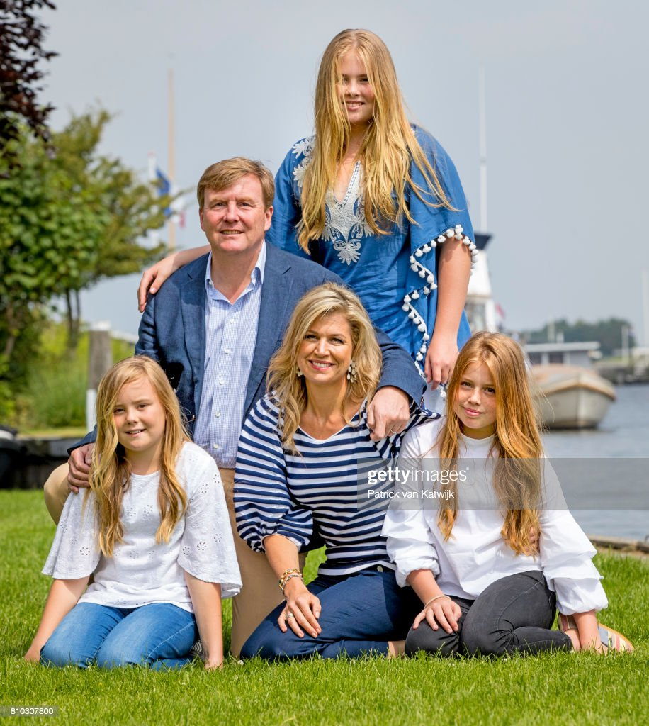 King Willem-Alexander of The Netherlands, Queen Maxima of The Netherlands, Crown Princess Amalia of The Netherlands, Princess Alexia of The Netherlands and Princess Ariane of The Netherlands pose during the annual summer photo call at the Kagerplassen on July 7, 2017 in Warmond, Netherlands.