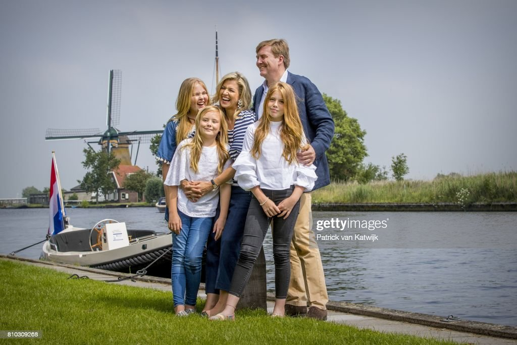 King Willem-Alexander of The Netherlands, Queen Maxima of The Netherlands, Crown Princess Amalia of The Netherlands, Princess Alexia of The Netherlands and Princess Ariane of The Netherlands during the annual summer photo call at the Kagerplassen on July 7, 2017 in Warmond, Netherlands.