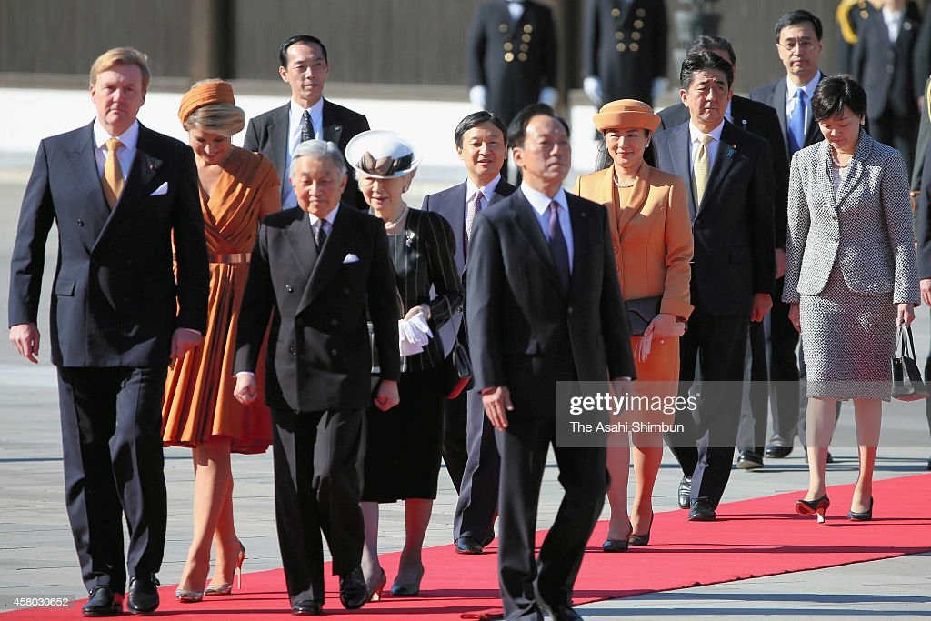<a gi-track='captionPersonalityLinkClicked' href=/galleries/search?phrase=King+Willem-Alexander&family=editorial&specificpeople=160214 ng-click='$event.stopPropagation()'>King Willem-Alexander</a> of the Netherlands, Queen Maxima of the Netherlands, Emperor Akihito, <a gi-track='captionPersonalityLinkClicked' href=/galleries/search?phrase=Empress+Michiko&family=editorial&specificpeople=158725 ng-click='$event.stopPropagation()'>Empress Michiko</a>, <a gi-track='captionPersonalityLinkClicked' href=/galleries/search?phrase=Crown+Prince+Naruhito&family=editorial&specificpeople=158365 ng-click='$event.stopPropagation()'>Crown Prince Naruhito</a>, <a gi-track='captionPersonalityLinkClicked' href=/galleries/search?phrase=Crown+Princess+Masako&family=editorial&specificpeople=580174 ng-click='$event.stopPropagation()'>Crown Princess Masako</a>, Prime Minister <a gi-track='captionPersonalityLinkClicked' href=/galleries/search?phrase=Shinzo+Abe&family=editorial&specificpeople=559017 ng-click='$event.stopPropagation()'>Shinzo Abe</a> and first lady <a gi-track='captionPersonalityLinkClicked' href=/galleries/search?phrase=Akie+Abe&family=editorial&specificpeople=2042808 ng-click='$event.stopPropagation()'>Akie Abe</a> attend the welcome ceremony at the Imperial Palace on October 29, 2014 in Tokyo, Japan. The King and Queen are on six-day tour in Japan.