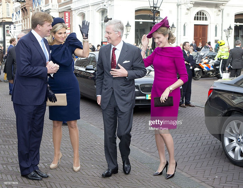 King Willem-Alexander of The Netherlands, Queen Maxima of The Netherlands, King <a gi-track='captionPersonalityLinkClicked' href=/galleries/search?phrase=Philippe+of+Belgium&family=editorial&specificpeople=160209 ng-click='$event.stopPropagation()'>Philippe of Belgium</a> and <a gi-track='captionPersonalityLinkClicked' href=/galleries/search?phrase=Queen+Mathilde+of+Belgium&family=editorial&specificpeople=239189 ng-click='$event.stopPropagation()'>Queen Mathilde of Belgium</a> arrive at the Noordeinde Palace during an official visit to The Netherlands on November 8, 2013 in The Hague, Netherlands.