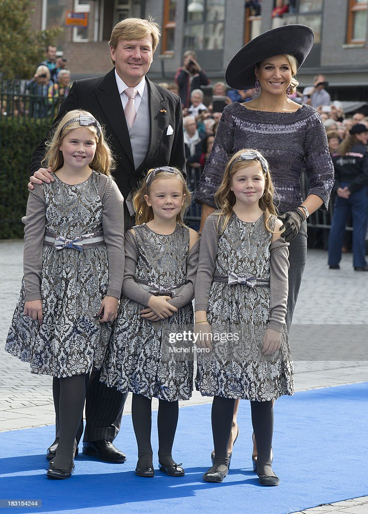 King Willem-Alexander of The Netherlands, Queen Maxima of The Netherlands, Princess Amalia of The Netherlands, Princess Ariane of The Netherlands and Princess Alexia of The Netherlands attend the wedding of Prince Jaime de Bourbon Parme and Viktoria Cservenyak at The Church Of Our Lady At Ascension on October 5, 2013 in Apeldoorn, Netherlands.