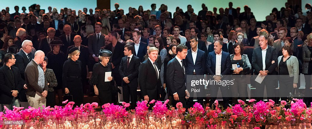 <a gi-track='captionPersonalityLinkClicked' href=/galleries/search?phrase=King+Willem-Alexander&family=editorial&specificpeople=160214 ng-click='$event.stopPropagation()'>King Willem-Alexander</a> of the Netherlands, Queen Maxima of the Netherlands, Princess <a gi-track='captionPersonalityLinkClicked' href=/galleries/search?phrase=Beatrix+of+the+Netherlands&family=editorial&specificpeople=92396 ng-click='$event.stopPropagation()'>Beatrix of the Netherlands</a> and Dutch Prime Minister <a gi-track='captionPersonalityLinkClicked' href=/galleries/search?phrase=Mark+Rutte&family=editorial&specificpeople=4509362 ng-click='$event.stopPropagation()'>Mark Rutte</a> arrive to attend a commemoration ceremony with relatives and friends of the victims of the Malaysia Airlines Flight 17 disaster at RAI on November 10, 2014 in Amsterdam, Netherlands. Hundreds of grieving family members and friends are gathering in Amsterdam for a national commemoration ceremony nearly four months after the passenger jet was downed over eastern Ukraine killing all 298 people on board. The Boeing 777 was downed July 17 while flying from Amsterdam to Kuala Lumpur.