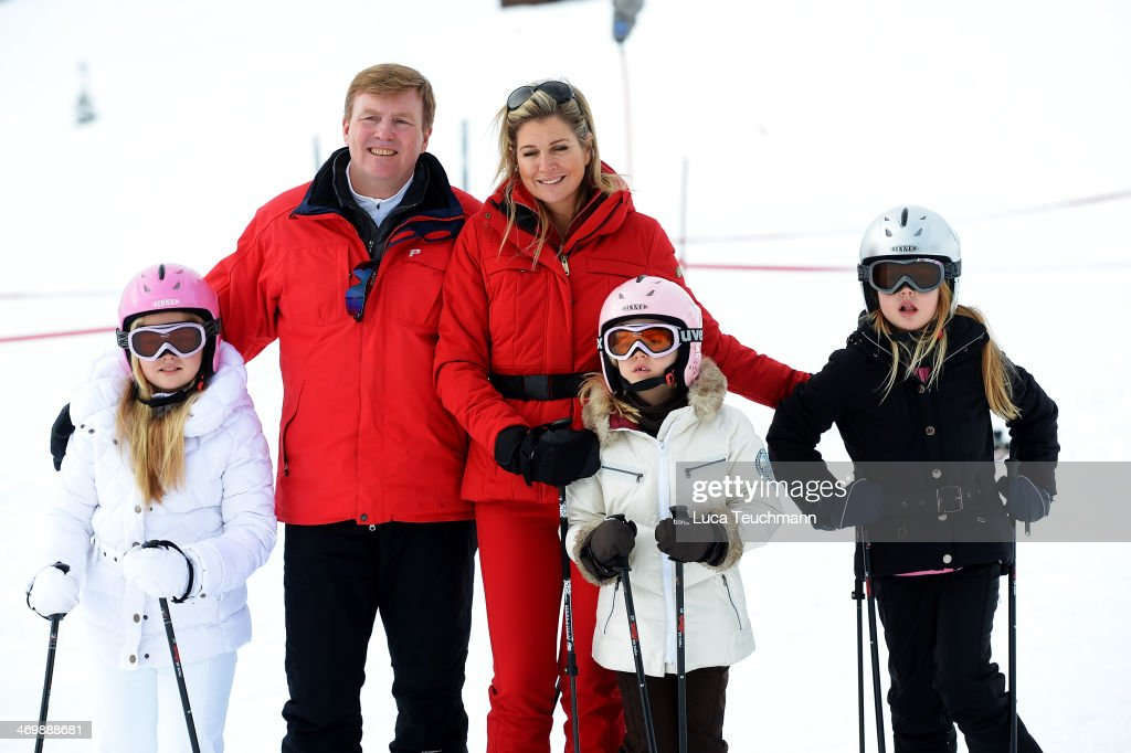King Willem-Alexander of the Netherlands; Queen Maxima of the Netherlands; Princess Ariane; Princess Alexia and Princess Catharina-Amalia attends the annual winter photocall on February 17, 2014 in Lech, Austria.
