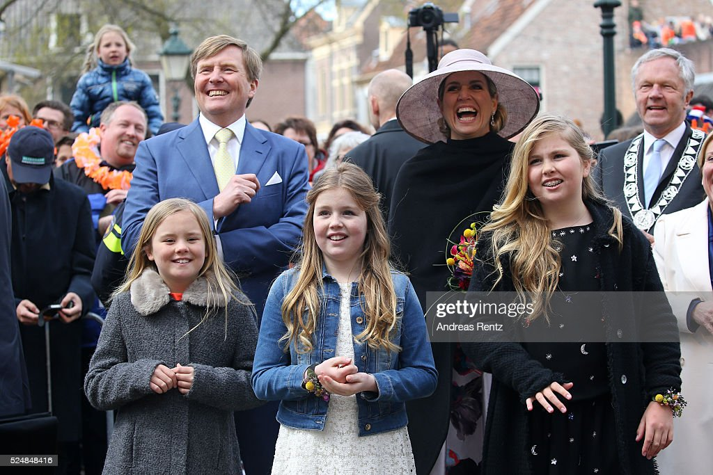 King Willem-Alexander of The Netherlands, Queen Maxima of The Netherlands, Princess Ariane of The Netherlands, Princess Alexia of The Netherlands, and Crown Princess Catharina-Amalia of The Netherlands react after a musical performance during King's Day (Koningsdag), the celebration of the birthday of the Dutch King, on April 27, 2016 in Zwolle, Netherlands. Parties and concerts are held across the Netherlands as members of the Dutch royal family oversee festivities.