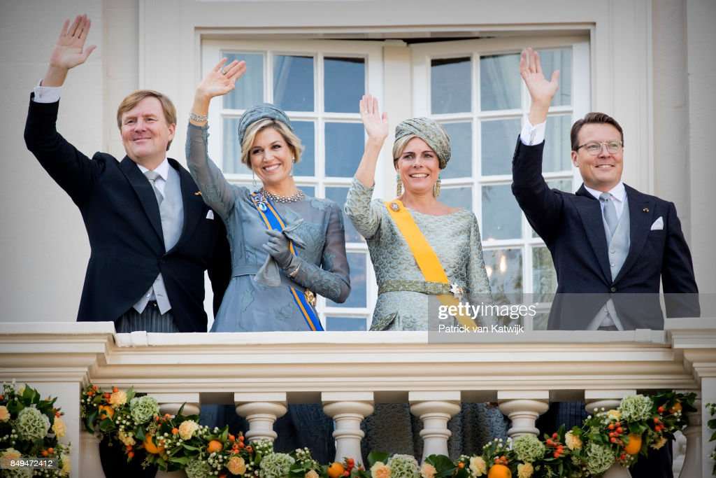 King Willem-Alexander of The Netherlands, Queen Maxima of The Netherlands, Princess Laurentien of The Netherlands and Prince Constantijn of the Netherlands at the balcony of Palace Noordeinde during Prinsjesdag on September 19, 2017 in The Hague, Netherlands. Prinsjesdag is the annual opening of the Dutch Parliamentary year.