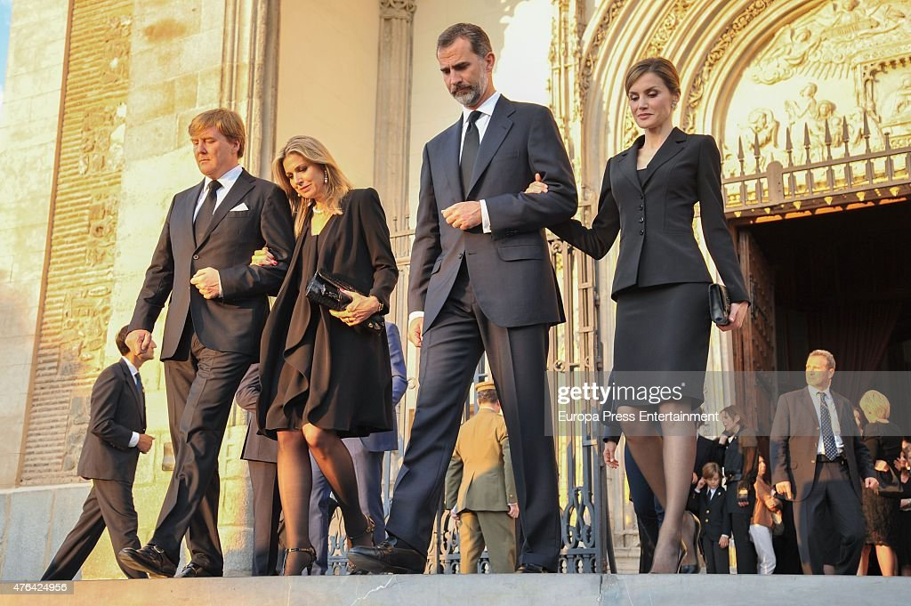 <a gi-track='captionPersonalityLinkClicked' href=/galleries/search?phrase=King+Willem-Alexander&family=editorial&specificpeople=160214 ng-click='$event.stopPropagation()'>King Willem-Alexander</a> of the Netherlands, Queen Maxima of the Netherlands, Queen King Felipe of Spain and Queen <a gi-track='captionPersonalityLinkClicked' href=/galleries/search?phrase=Letizia+of+Spain&family=editorial&specificpeople=158373 ng-click='$event.stopPropagation()'>Letizia of Spain</a> attend the memorial service for Prince Kardam of Bulgaria at San Jeronimo el Real church on June 8, 2015 in Madrid, Spain.