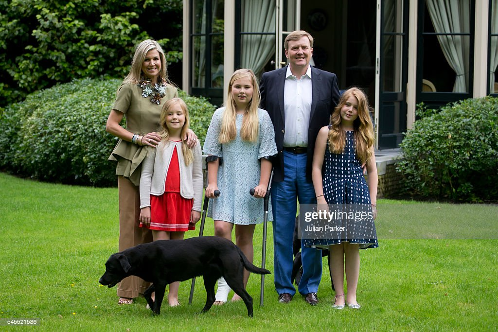 King Willem-Alexander of the Netherlands, Queen Maxima of the Netherlands, with Daughters, Princess Ariane of the Netherlands, Crown Princess Catharina-Amalia of the Netherlands, and Princess Alexia of the Netherlands attend the annual Summer photocall at Horsten Estate, on July 8, 2016 in Wassenaar, Netherlands.