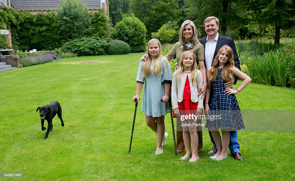 King Willem-Alexander of the Netherlands, Queen Maxima of the Netherlands, with Daughters,, Crown Princess Catharina-Amalia of the Netherlands, Princess Ariane of the Netherlands, and Princess Alexia of the Netherlands attend the annual Summer photocall at Horsten Estate, on July 8, 2016 in Wassenaar, Netherlands.