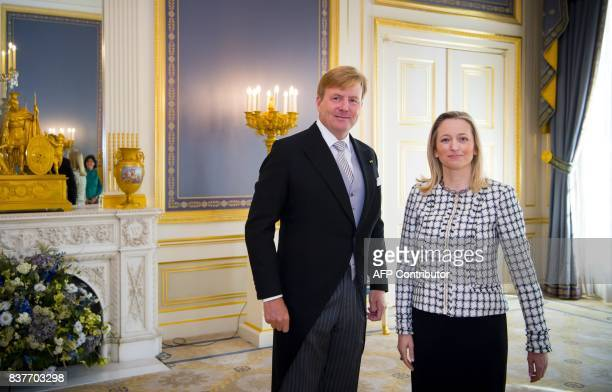 King WillemAlexander of the Netherlands receives the letter of credence from the ambassador of the Republic Slovenia Sanja Stiglic at Palace...