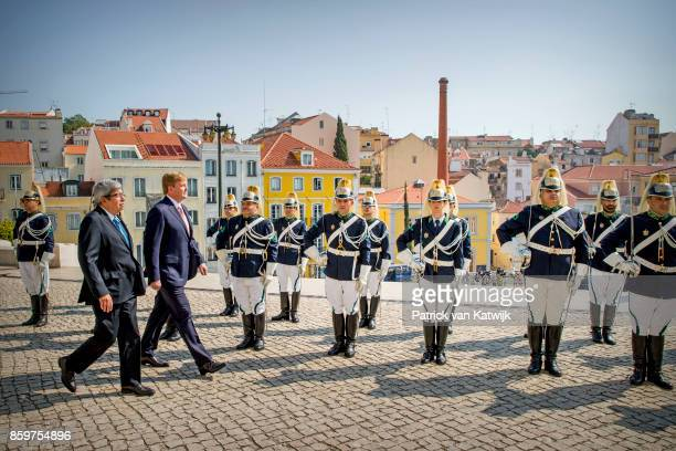 King WillemAlexander of The Netherlands visits the chairman of the parliament Ferro Rodrigues at the Palacio de Sao Bento on October 10 2017 in...
