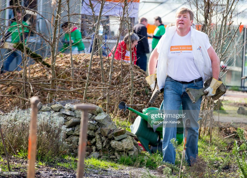 King Willem-Alexander of the Netherlands volunteering for NL Doet in the neighborhood garden on March 10, 2017 in Breda, Netherlands. NL Doet is a National Volunteer day organized by the Oranje Fonds, the King and the Queen are patron and patroness of the foundation.