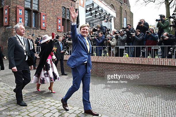 King WillemAlexander of The Netherlands waves to the crowd during King's Day the celebration of the birthday of the Dutch King on April 27 2016 in...