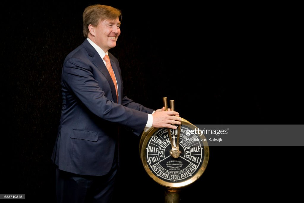 King Willem-Alexander opens renovated Martiem and Logistics College De Ruyter and Multraship Toage & Salvag on February 3, 2017 in Vlissingen, The Netherlands.