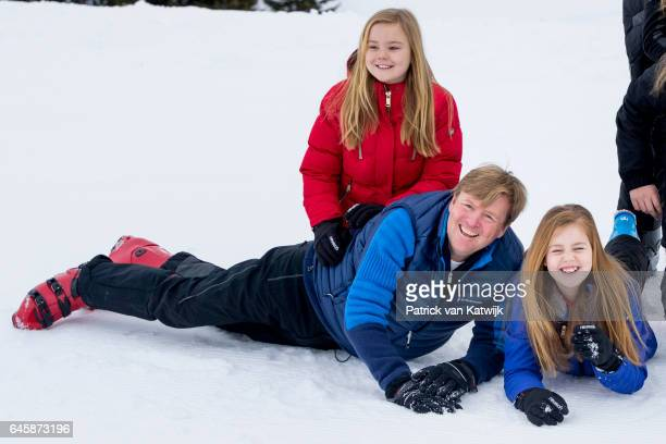 King WillemAlexander Princess Alexia and Princess Ariane of The Netherlands pose for the media during their annual wintersport holidays on February...