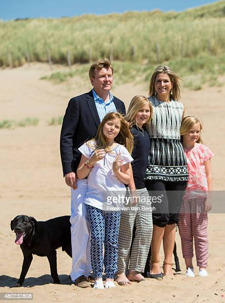 King WillemAlexander Princess Alexia Princess Amalia Queen Maxima and Princess Ariane of The Netherlands and one their dogs Skipper and Nala pose for...