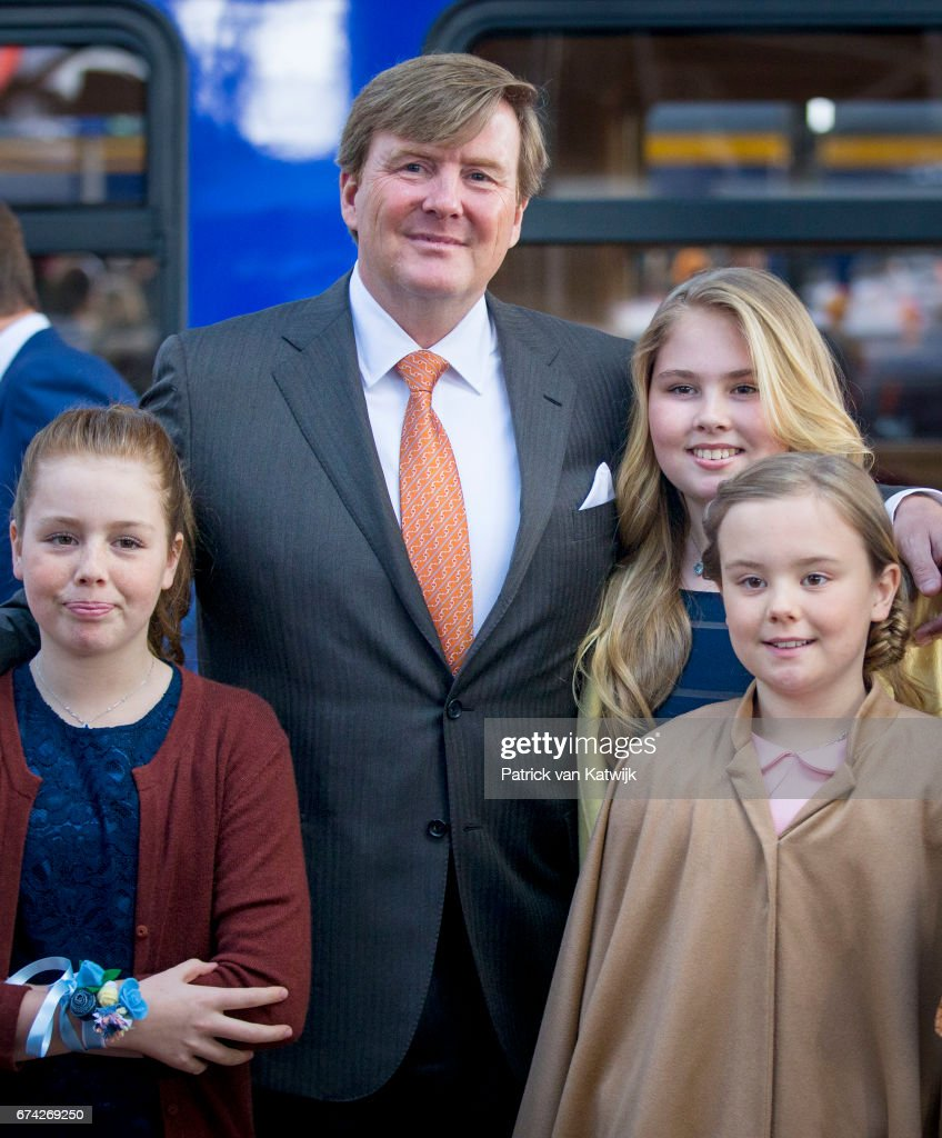 King Willem-Alexander, Princess Amalia, Princess Alexia and Princess Ariane of The Netherlands attend the King's 50th birthday during the Kingsday celebrations on April 27, 2017 in Tilburg, Netherlands.