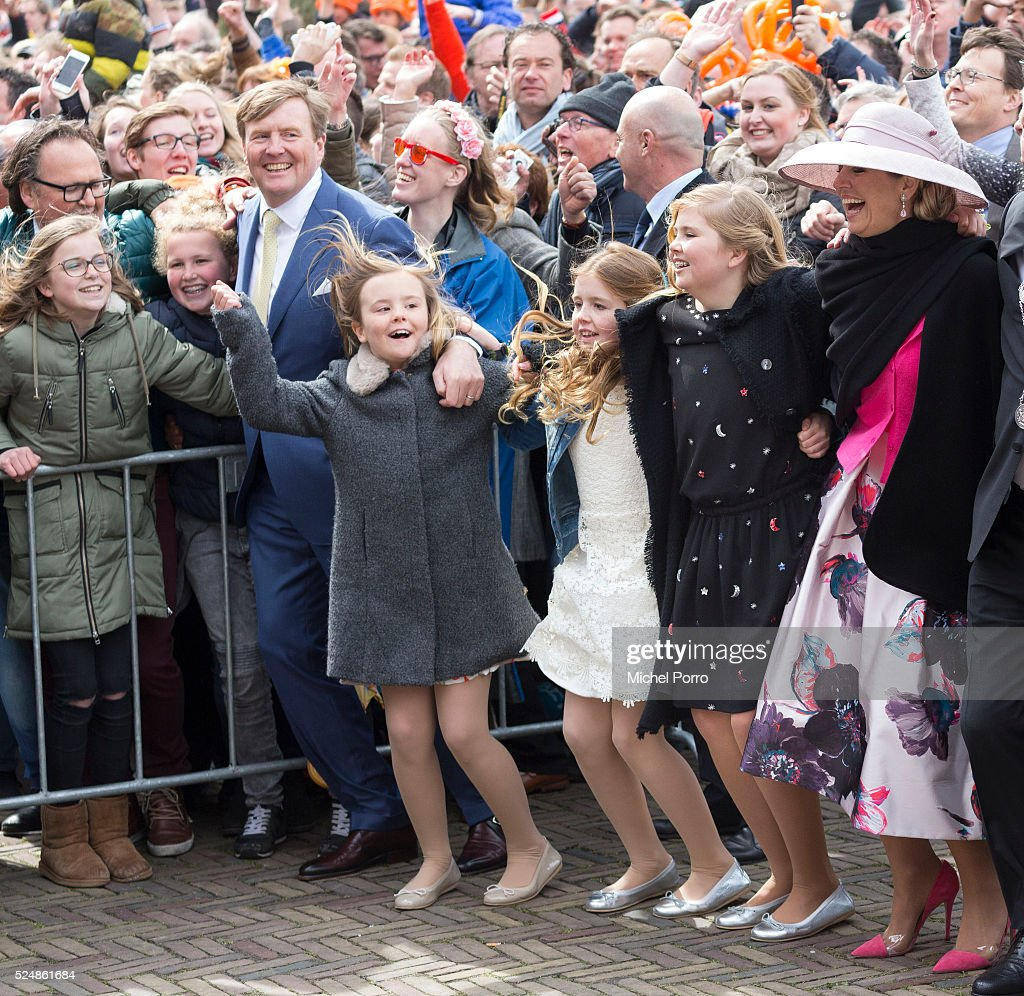 King Willem-Alexander, Princess Ariane, Princess Alexia, Princess Catharina-Amalia and Queen Maxima of The Netherlands dance during celebrations marking his 49th birthday on King's Day on April 27, 2016 in Zwolle, Netherlands.