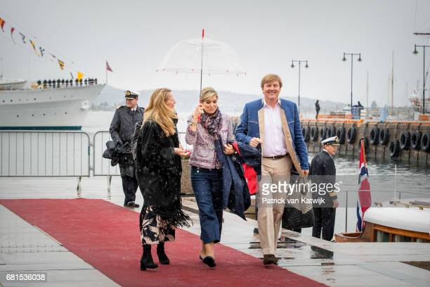 King WillemAlexander Queen Maxima and Princess Mabel of OrangeNassau attend a lunch on the Royal yatch Norge on the ocassion of the celebration of...